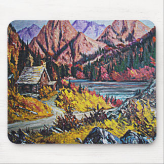 Cabina por la pintura al óleo del lago alfombrilla de ratón