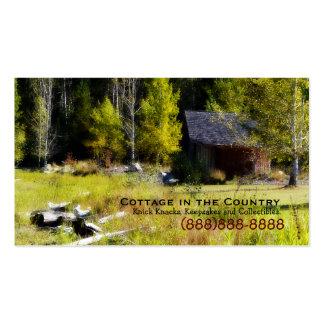 Cabina rústica en el primer día de otoño plantilla de tarjeta de visita