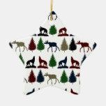 Cabina salvaje de la montaña del desierto del lobo ornamento para arbol de navidad