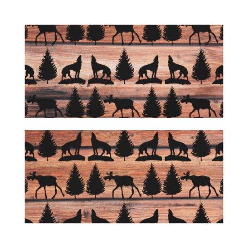 Cabina salvaje de la montaña del desierto del lobo impresión de lienzo