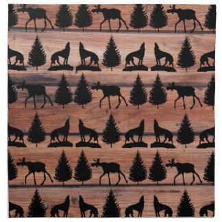 Cabina salvaje de la montaña del desierto del lobo servilletas imprimidas