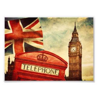 Cabina y Big Ben de teléfono roja en Londres, Fotografía