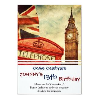 """Cabina y Big Ben de teléfono roja en Londres, Invitación 5"""" X 7"""""""