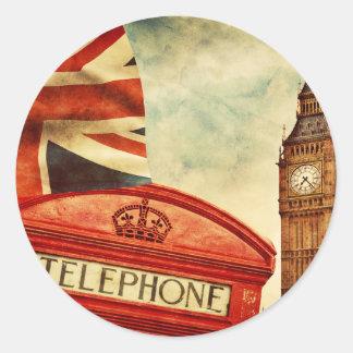 Cabina y Big Ben de teléfono roja en Londres, Pegatina Redonda