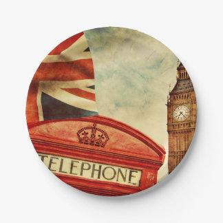 Cabina y Big Ben de teléfono roja en Londres, Platos De Papel