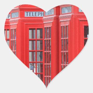 Cabinas de teléfono rojas de Londres Pegatina En Forma De Corazón