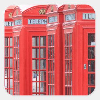 Cabinas de teléfono rojas de Londres Pegatina Cuadrada