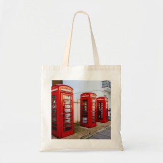 Cabinas de teléfonos rojas de Londres, fotografía Bolsa Lienzo