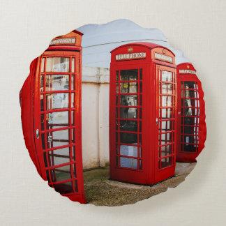 Cabinas de teléfonos rojas de Londres, fotografía Cojín Redondo