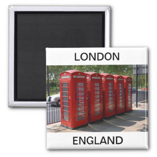 Cabinas de teléfonos rojas de Londres Imán Cuadrado