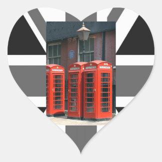 Cabinas de teléfonos rojas de Londres Pegatina En Forma De Corazón