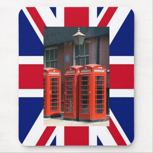 Cabinas de teléfonos rojas de Londres Tapete De Ratones