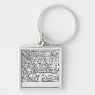 Cabinet of physics, 1687 Silver-Colored square keychain