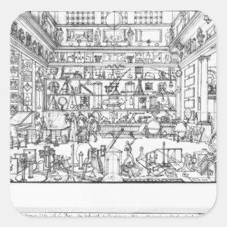 Cabinet of physics, 1687 square sticker
