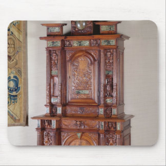 Cabinet with two sections, and a double door mouse pad