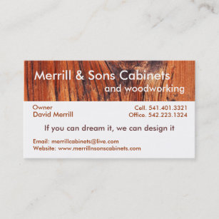 cabinets or woodworking business card - Merrill Business Cards