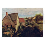 Cabins With Mill On The Creek Bank By Corot Jean-B Card