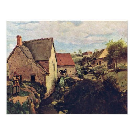 Cabins With Mill On The Creek Bank By Corot Jean-B Personalized Invites