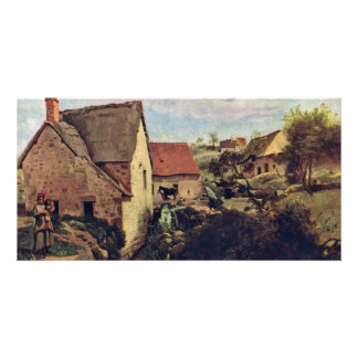 Cabins With Mill On The Creek Bank By Corot Jean-B Photo Card