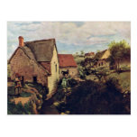 Cabins With Mill On The Creek Bank By Corot Jean-B Post Card