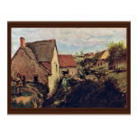 Cabins With Mill On The Creek Bank By Corot Jean-B Postcard