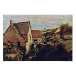 Cabins With Mill On The Creek Bank By Corot Jean-B Poster