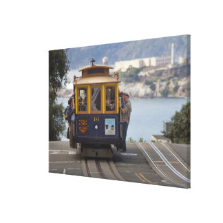 Cable car chugs up Hyde Street in San Canvas Print
