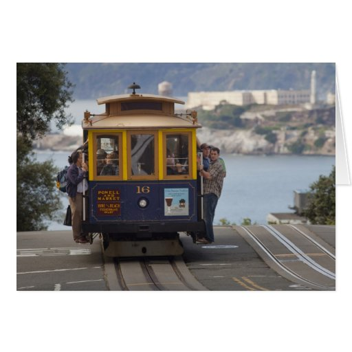 Cable car chugs up Hyde Street in San Greeting Card