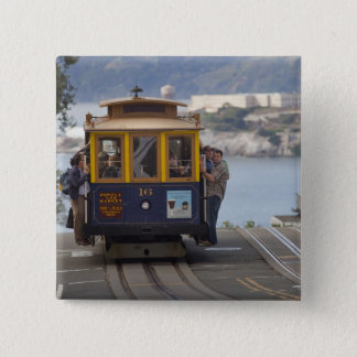 Cable car chugs up Hyde Street in San Pinback Button