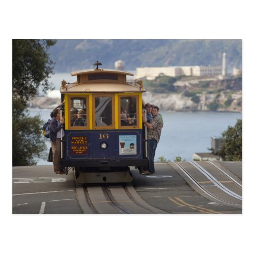 Cable car chugs up Hyde Street in San Post Card