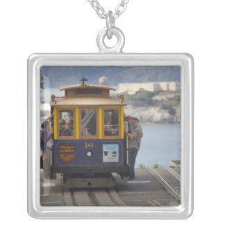 Cable car chugs up Hyde Street in San Silver Plated Necklace