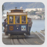 Cable car chugs up Hyde Street in San Square Sticker