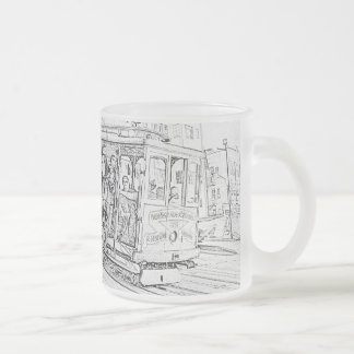 Cable Car Frosted Glass Coffee Mug