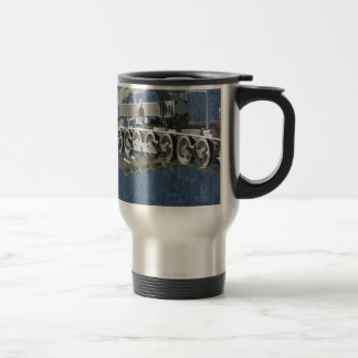 Cable car gear wheels with mountains background travel mug