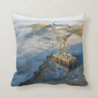 Cable car on the Mount Seceda in the Dolomites Throw Pillows