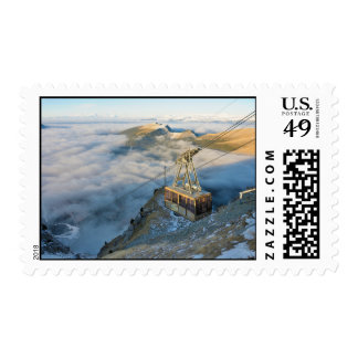 Cable car on the Mount Seceda in the Dolomites Postage Stamp