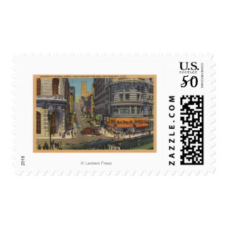Cable Cars on Market and Powell Street Postage