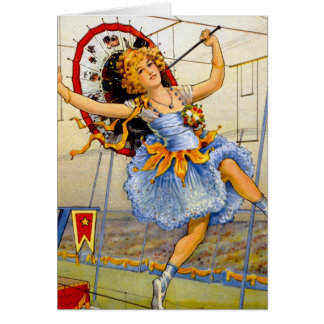 Cable de alta tensión del ejecutante de circo de tarjeta de felicitación