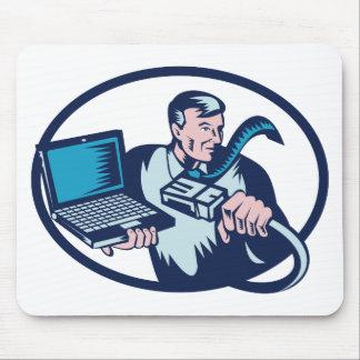 cable del ordenador portátil del friki del individ tapetes de ratón