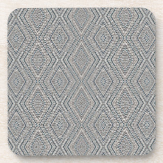 Cable Diamond Pattern Grey and Light Blue Design Beverage Coaster
