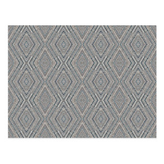 Cable Diamond Pattern Grey and Light Blue Design Postcard