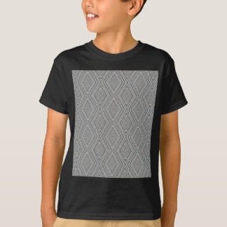 Cable Diamond Pattern Grey and Light Blue Design T-Shirt