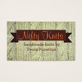 Cable knit yarn sweater knitting knitter business card