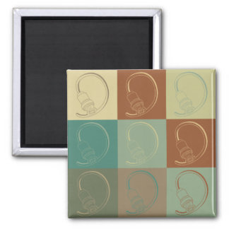 Cable Pop Art 2 Inch Square Magnet