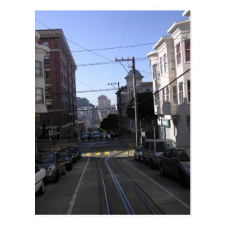 Cable tracks in the middle of road - San Francisco Postcard
