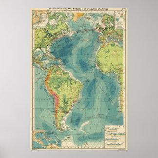 Cables atlánticos, estaciones inalámbricas póster