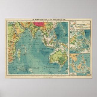Cables del Océano Índico, estaciones inalámbricas Póster