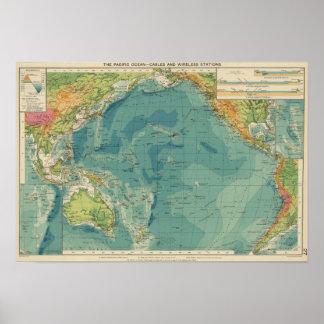 Cables del Océano Pacífico, estaciones inalámbrica Póster