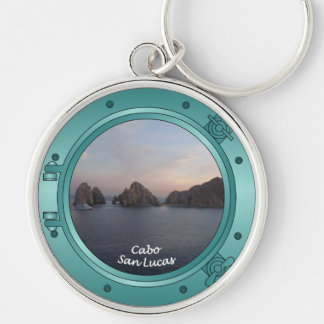 Cabo at Sunset Silver-Colored Round Keychain