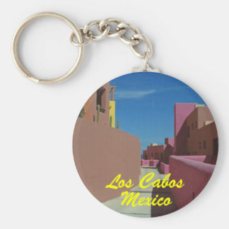 Cabo Colorful Walls Mexico Travel Basic Round Button Keychain